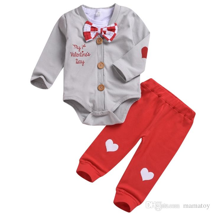 Baby Boy Valentines Day Outfits Sets 100 Cotton Toddlers Cloths For