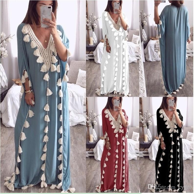 e30703fa5 2019 bohemio falda larga estilo étnico vestido de playa con flecos liso  vestido suelto hembra, apoyo lote mixto