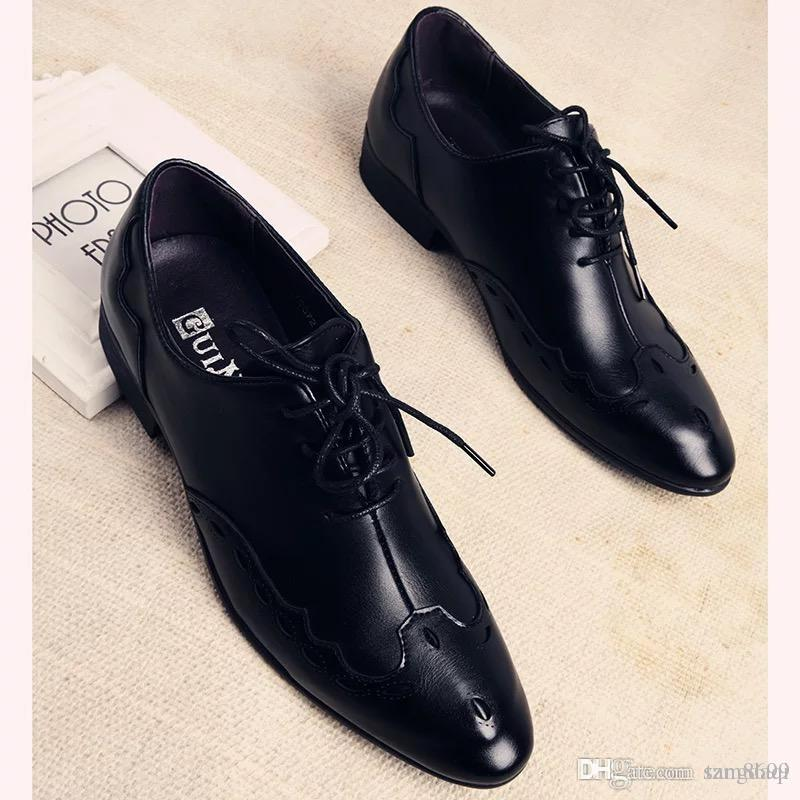 Leather Shoes Male Korean Black Trend Summer Breathable Flower Color Pointed Wild Leather British Mens Business Casual Latest Fashion Men's Shoes
