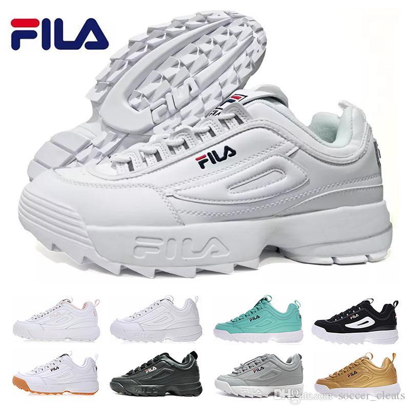 low priced 4ae5f 90a21 2019 Disruptores II 2 Zapatos Para Correr Para Mujer Zapatillas De Deporte  Para Hombre Zapatillas Fila Triple Blanco Negro Zapatillas Deportivas  Aumento Del ...