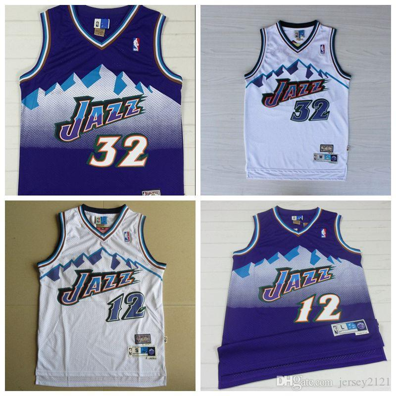 lowest price 24e9b c3f2e 2019 Men John Stockton Utah Karl Malone Jazzs Mitchell & Ness 1996-97  Hardwood Jersey Classics Swingman White New