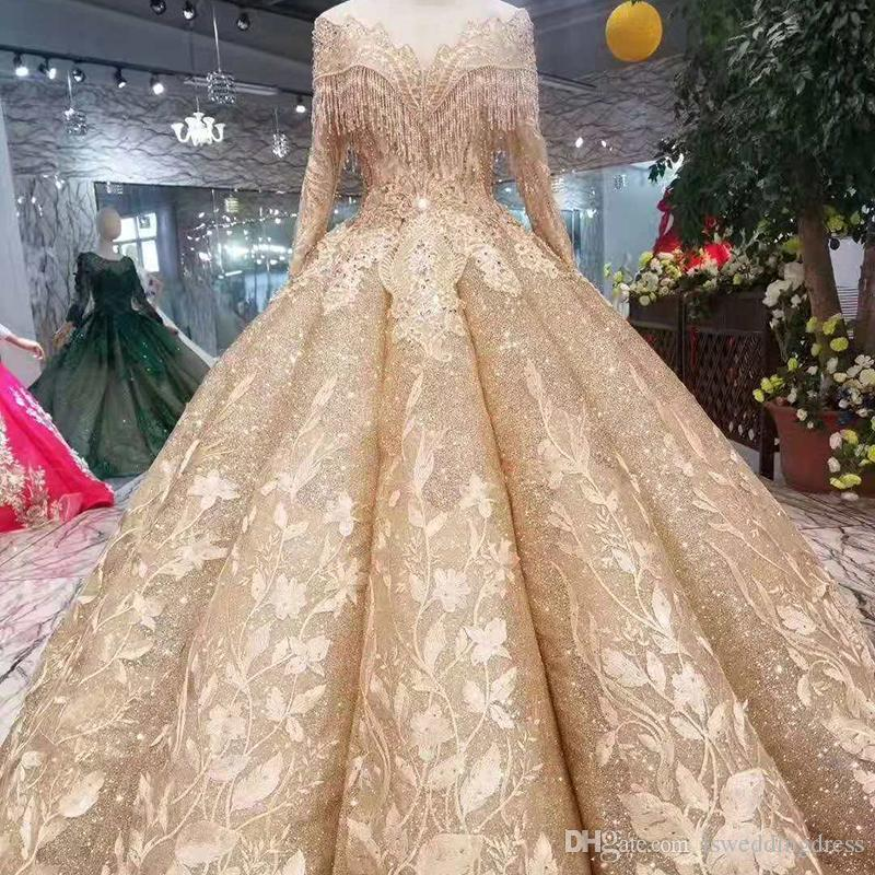 59c31e55c581a Shiny Ball Gown Evening Dresses Women Floor Length O-Neck Long Sleeve Lace  Up Back Muslim Swollen Prom Dresses Tassel Pleat Skirt