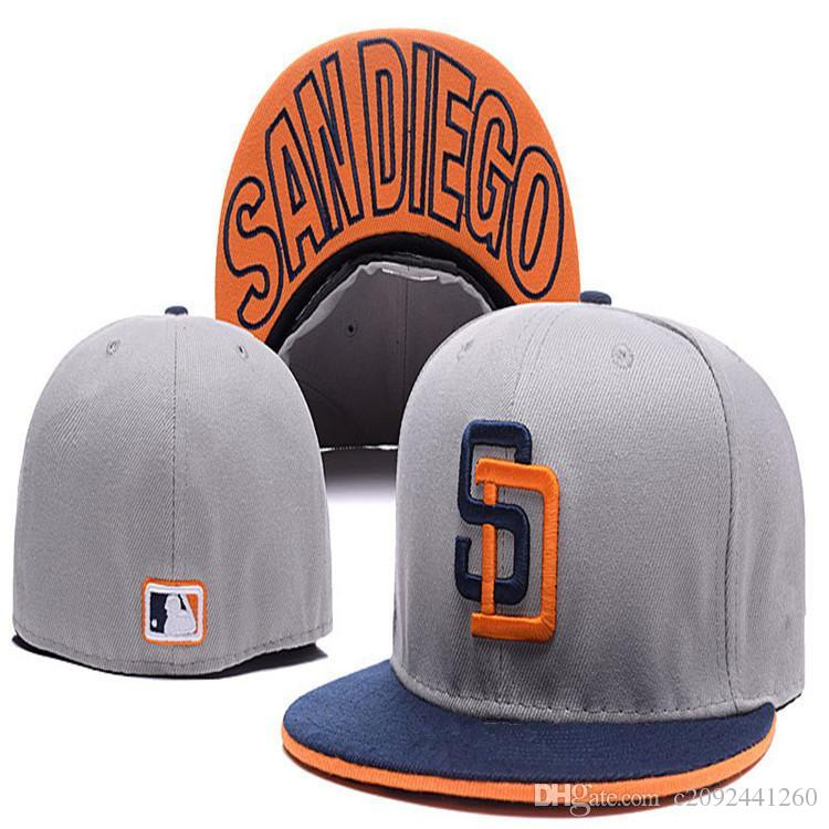 Retro Ball Team Padres Fitted Caps SD Letter Baseball Cap Embroidered Team  SD Letter Size Flat Brim Hat Padres Baseball Cap Size Beanie Hoodies From  ... 3dbbeccc9e0