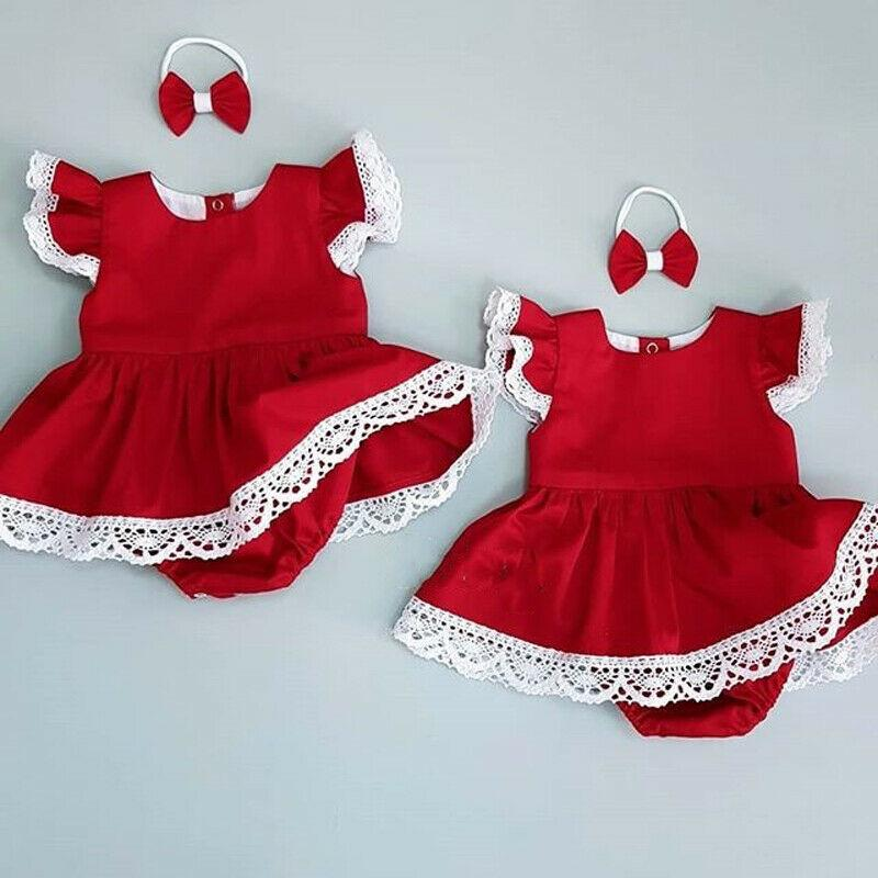 UK Newborn Baby Girl 0-24M Xmas Clothes Lace Romper Dress Jumpsuit Headband Outfit
