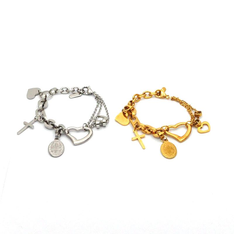 charm couple jewelry wholesale stainless steel bracelet hollow heart shape with coin bracelet two color for choice Br4086