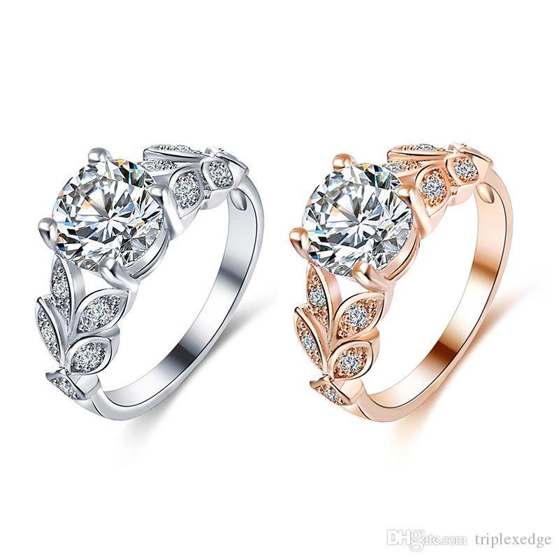 cd9b2b382352 Cristal de bodas de color plata anillos de compromiso de color oro anillo  de circonio cúbico moda para mujeres joyería