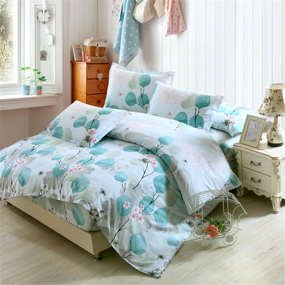 979bec3cafcf Fresh Flowers White Blue Twin Full Queen King Size Bedding Sets Egyptian  Cotton Bedlinens Duvet Cover Fitted Sheet Pillowcase Toile Bedding Country  Bedding ...