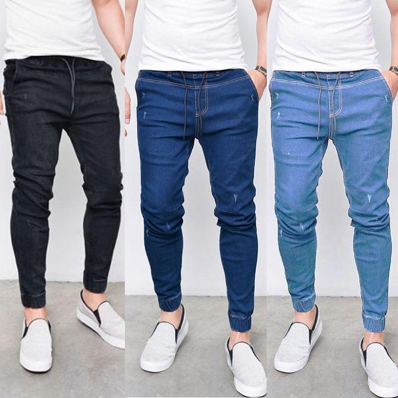 b07e9bd710cc8 Compre Pantalones Vaqueros Elásticos Para Hombre De es Nuevos Pantalones De  Mezclilla De Cintura Elástica Homme Slim Fit Flaco Pantalones Casuales A   17.52 ...
