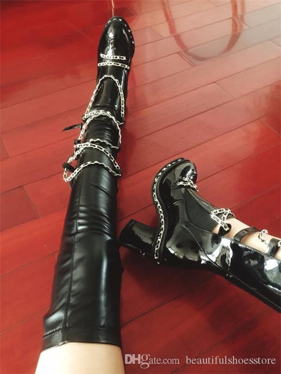 Más el tamaño 35-43 de la plataforma Botas Mujer Zapatos de pista Bloquear talones Cruz de cadena del estiramiento del muslo de cuero Negro Altas botas tobillo de las mujeres / botines largos