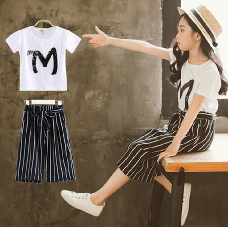 Girls Summer Fashion Short Sleeve Set 2019 Ins Childrens Pretty Letter M Printed T-shirt And Striped Staight Pants 2 Pieces Set Kids Outfit