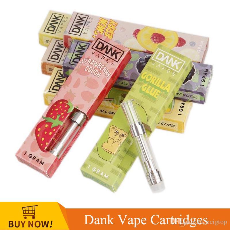 Empty Dank Vapes Pen Cartridges Pack 1 0ml 1 Gram Ceramic Coil Vape Carts  With 24 Flavors For Thick Oil Cartridges