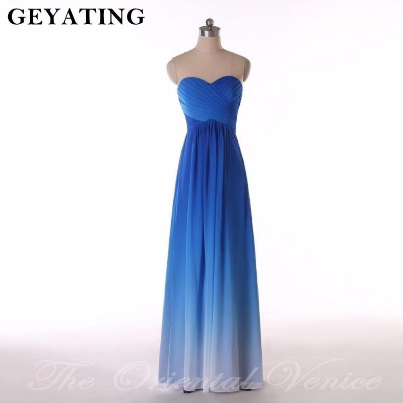 Ombre Blue Bridesmaid Dresses Long Sweetheart Pleat Chiffon Dress For Wedding Party 2019 Summer Beach Boho wedding guest