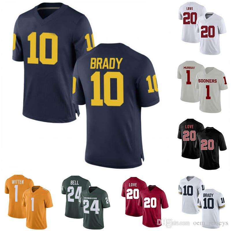 sports shoes 16ed3 07e41 Mens Michigan NCAA Wolverines 1 Jason Witten KYLER MURRAY 10 Tom Brady 24  Le'Veon Bell 20 Bryce Love College Stitched Jersey