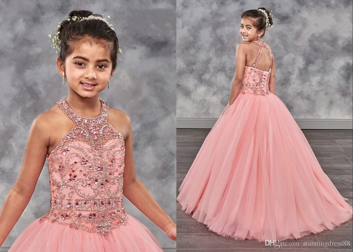 ef41e96337a0c4 2019 Cute Coral Toddler Girls Pageant Dresses Halter Bling Rhinestones  Tulle Backless Beaded Kids Formal Wear Flower Girls Dress Girl Formal  Dresses Girls ...