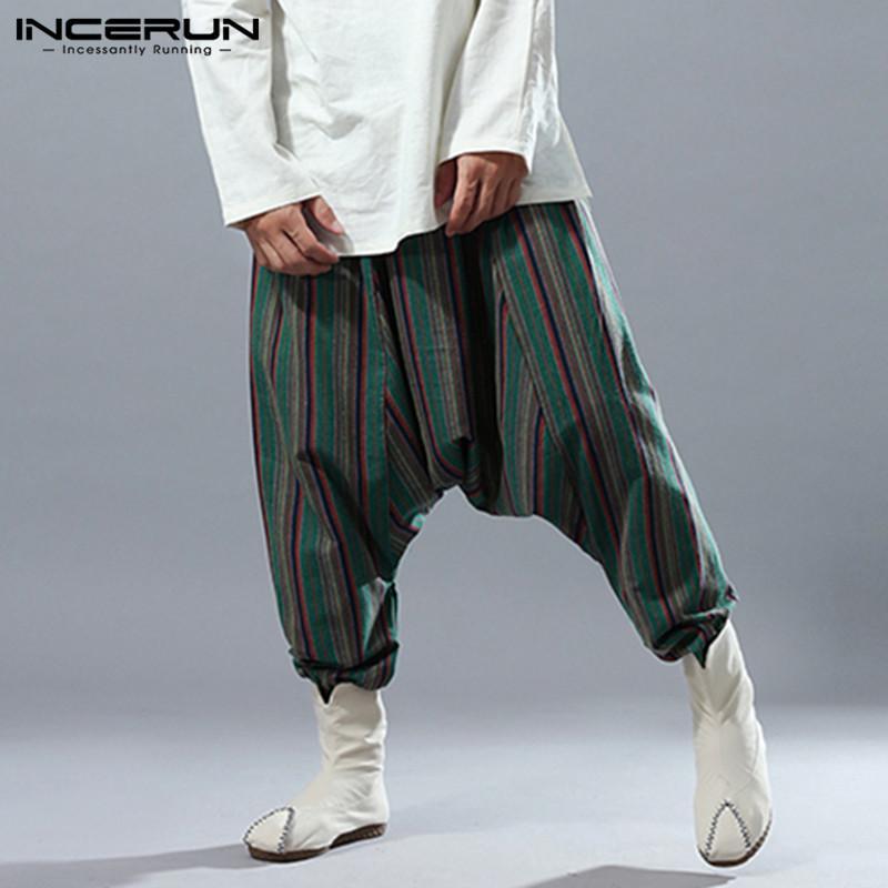 INCERUN 2019 Men Harem Pants Drop Crotch Stripe Joggers Baggy Pants Men  Hip-hop Nepal Loose Cotton Streetwear Retro Trousers Harem Pants Cheap  Harem Pants ... 7935ad1dc