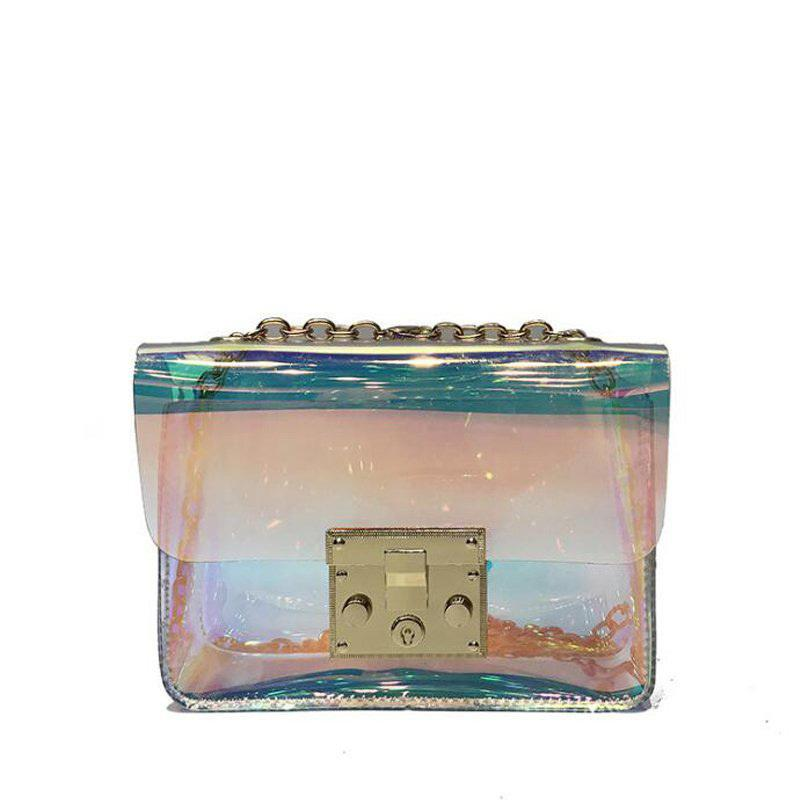 acheter populaire 4c83c 17d05 Transparent Bag Clear Pvc Jelly Tote Messenger Bags Laser Holographic  Shoulder Bags Female Lady Sac Femme Bandoulier Pp-1127