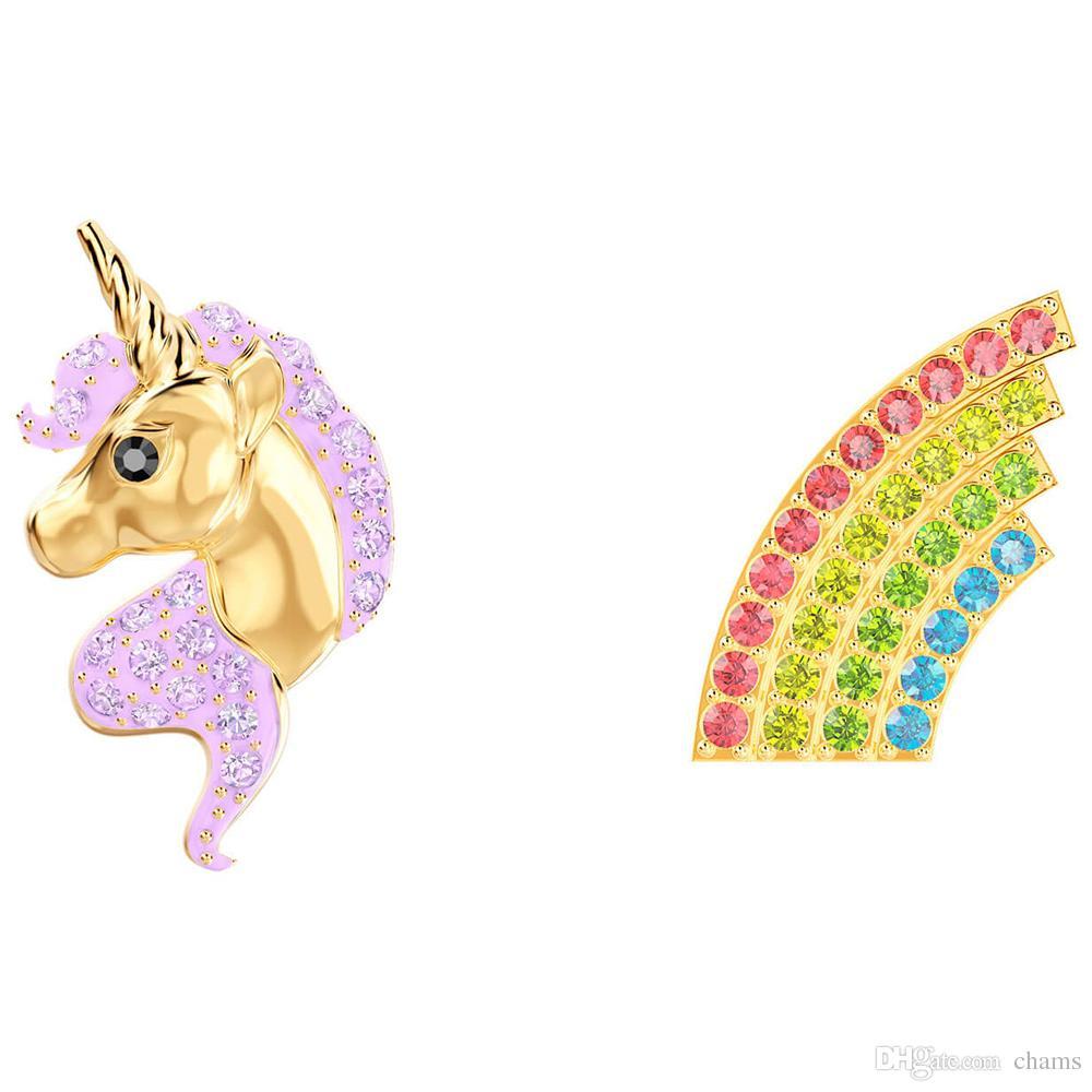 91ef5dc20 2019 Swarovski New Fantasy Girl Unicorn Fashion Colorful Rainbow  Asymmetrical Earrings Earrings Female 5468315 Lover Girlfriend Gift From  Chams, ...