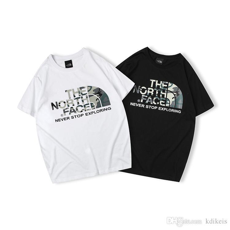 44781beb0 2019 THE Japan NORTH Fashion t-shirt iconic letter camouflage printed  cotton T black white M L XL XXL