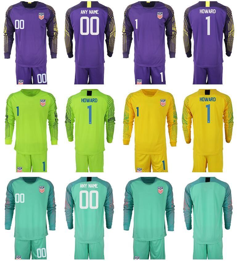 02922c560 2019 Team USA Soccer Long Sleeve Jerseys Goalkeeper 1 Bill Hamid Tim Howard  Zack Steffen Hope Solo American Football Kits Shirts Shorts Man From ...