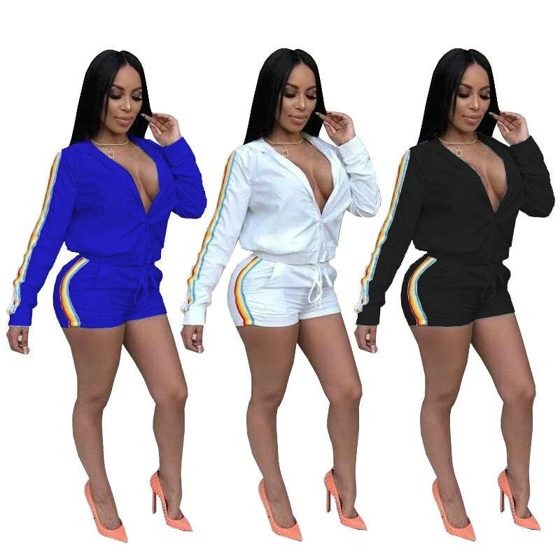 a5b7f2f8a9b Cheap Fashion Jacket+short Pants Set for Women New Tracksuit Zipper Tops  Pants Two-piece Set Long Sleeve Suits Sport Party Club Clothes Pink