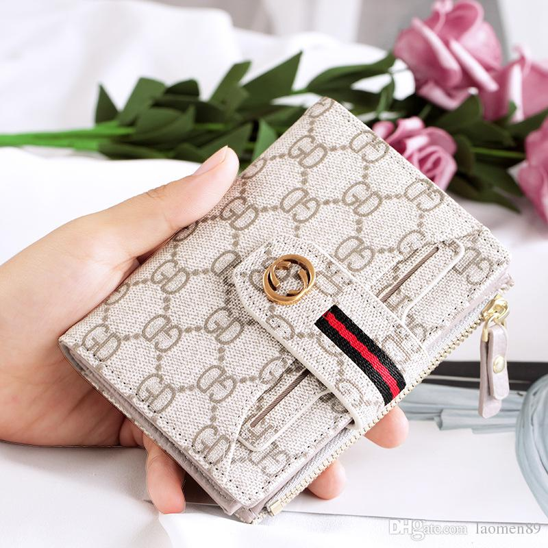 Fashion classic retro leather luxury ladies wallet short print multi-card position buckle wallet Card package holder card