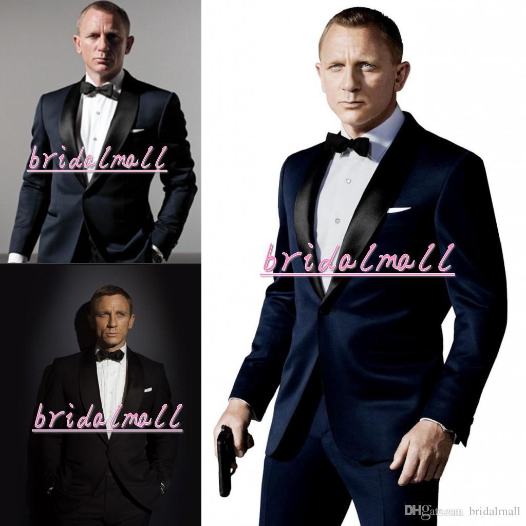 ecb62e5fb06 007 James Bond Dark Blue Groom Tuxedos Mens Suits Boyfriend Blazer  Bridegroom Best Man Office Clothing Formal Wedding Tux (Jacket+Pant+Tie)