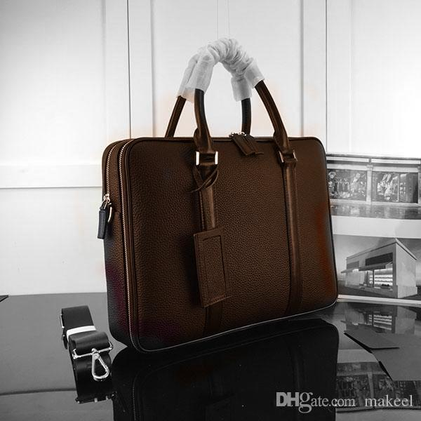2019 Superior quality Top Brown Plaid Canvas Coated Real Leather Men PORTE-DOCUMENTS Handbag Fashion Designer Briefcase Bag M52005