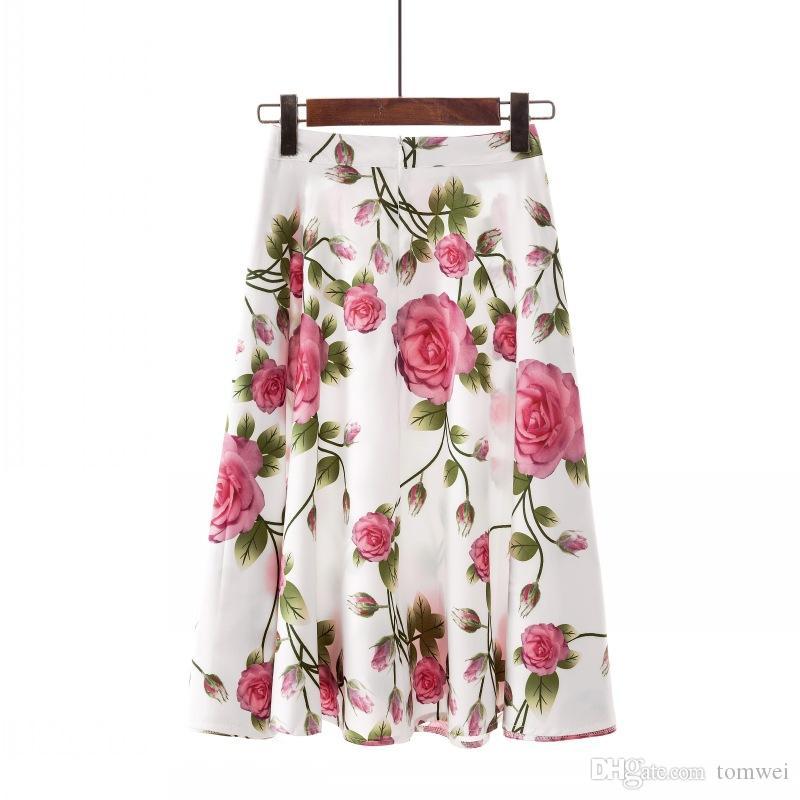 89dbad48303 2019 Flower Skirt Womens Summer Pleated Skirts Mini Skirts Beachwear A Line  Above Knee 2019 Plus Size S XXL From Tomwei