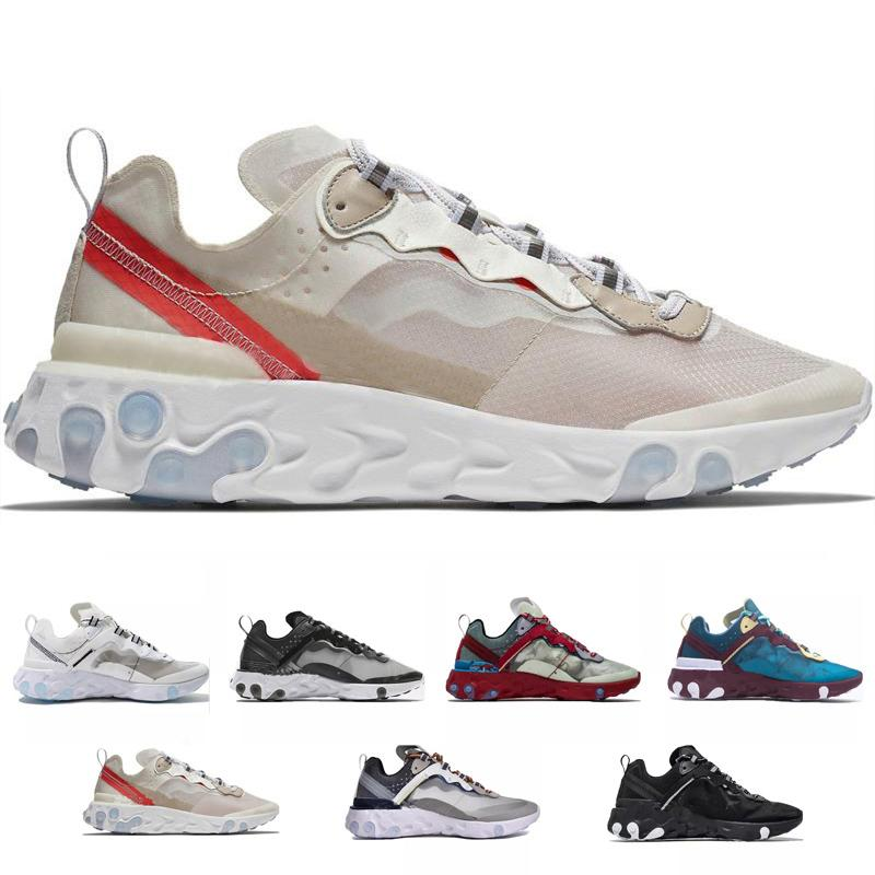 87 55 UNDERCOVER x Sneakers da uomo di design React Element imminente Scarpe da ginnastica blu Chill Sail Green Mist Orange Running