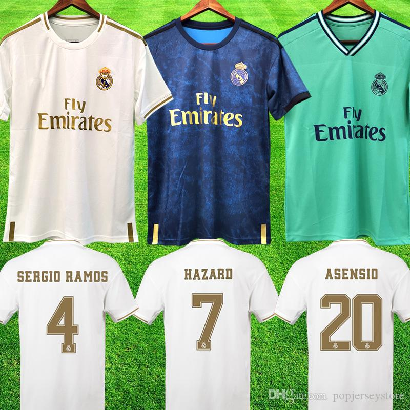 maillot Real Madrid de football 2019 2020 du Real Madrid troisième troisième maillot de football vert à l'extérieur ISCO SERGIO RAMOS real madrid soccer jersey football shirts