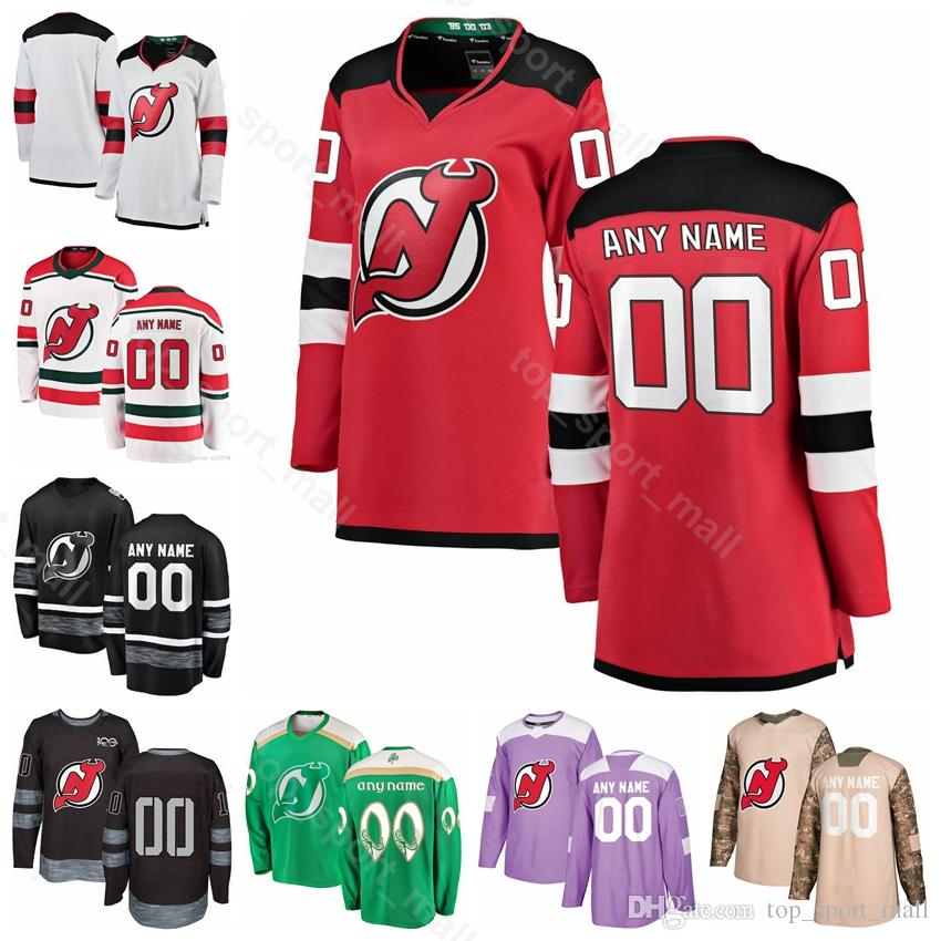 separation shoes 9d309 68202 Custom New Jersey Devils 9 Taylor Hall Jersey Hockey 13 Nico Hischier 35  Cory Schneider 30 Martin Brodeur 100th Anniversary Fights Cancer