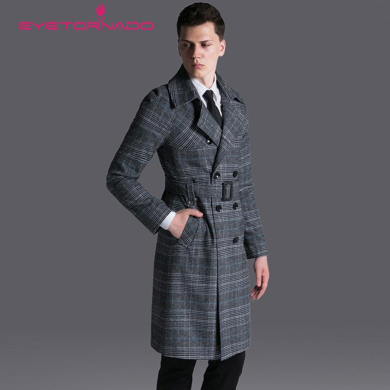 4304339b436 2019 Men Fashion Trench Spring Autumn Plaid Double Breasted Casual Business  Trench Overcoat Belted Pockets Slim Fit Classic From Topcoat
