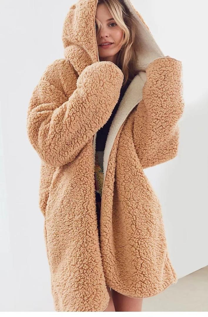 29c94e3a606 Loose Lamb Faux Fur Jacket Coats Women Winter Plush Teddy Bear Coat ...