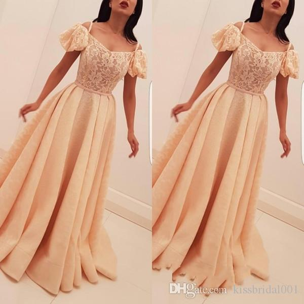 53f26fef8255a New Arrival Bubble Sleeves Long Evening Gown Lace Appliques A Line Prom  Dress On Sale Cocktail Party Ball Dresses Formal Gowns Formal Dresses For  Women Long ...