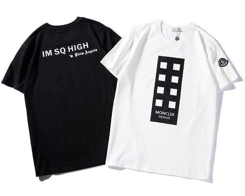 76d419da60 2019 2019 New Tee Mon Men Women Epaulette Letter Logo Print T Shirt ...