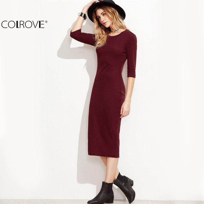 brand new 26804 2cf33 COLROVIE Borgogna Vestito aderente Ufficio Donna Abiti Donna Autunno Nuovo  Elegante Vestito donna Donna Vestito manica 3/4 Y181227