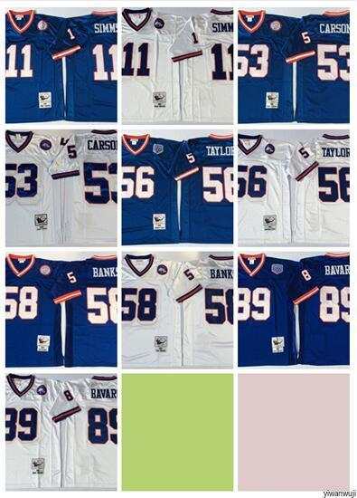 info for e541d 47fa9 Throwback New York Football Giants 56 Lawrence Taylor Jersey Vintage 89  Mark Bavaro 11 Phil Simms 53 Harry Carson 58 Carl Banks Blue White
