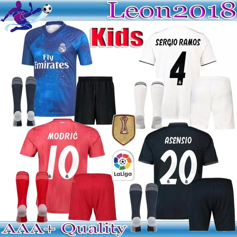 c5318bf4154 2019 Kids Kit 2018 2019 Real Madrid Soccer Jersey 18 19 Youth Boys MODRIC  BALE ISCO RAMOS Asensio Home Away Football Jerseys Shirts From Leon2018, ...