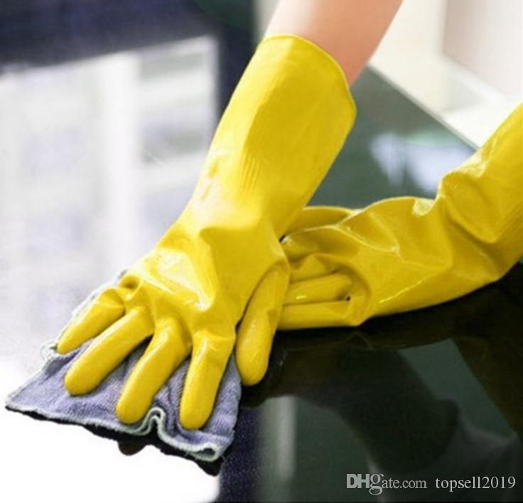 Cleaning Gloves Dish Washing Glove Rubber Housework Mittens Latex Mitten Long Kitchen Wash The Dishes Mitts High Quality SN2696