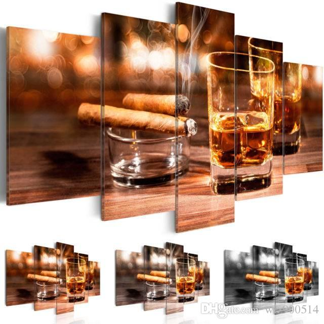 2019 Canvas Print Modern Fashion Bar Restaurant Mural Cigar and Wine Painting for Home Decoration Choose Color & Size No Frame