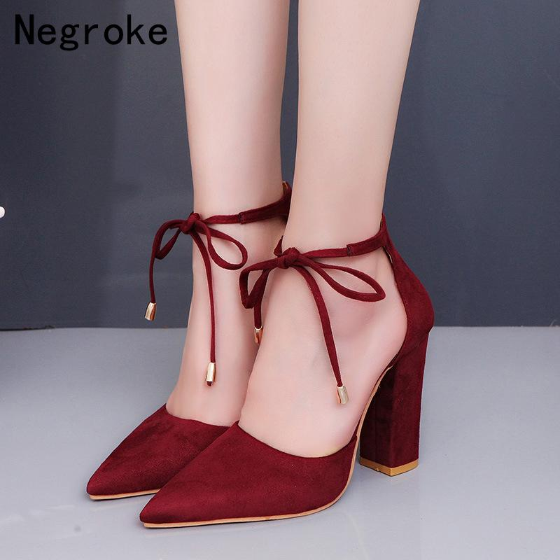 9b4b4b58fd2 Dress Chic Pointed Toe Women Sandals Square High Heels Gladiator Pumps 2019  New Spring Summer Ankle Strap Sandalias Mujer Plus Size 43 Loafers Mens  Boots ...