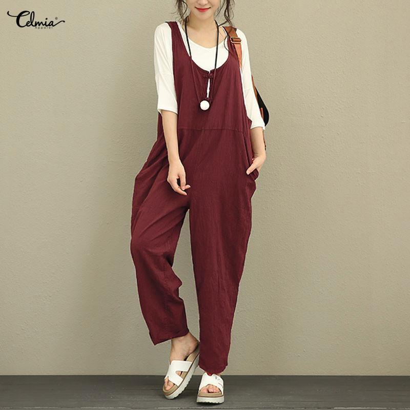 2647a8865c12 Celmia Women Jumpsuit 2018 Autumn Female Sleeveless Backless Solid Vintage  Linen Playsuit Plus Size Overall Casual Loose Rompers Y1891808 Online with  ...
