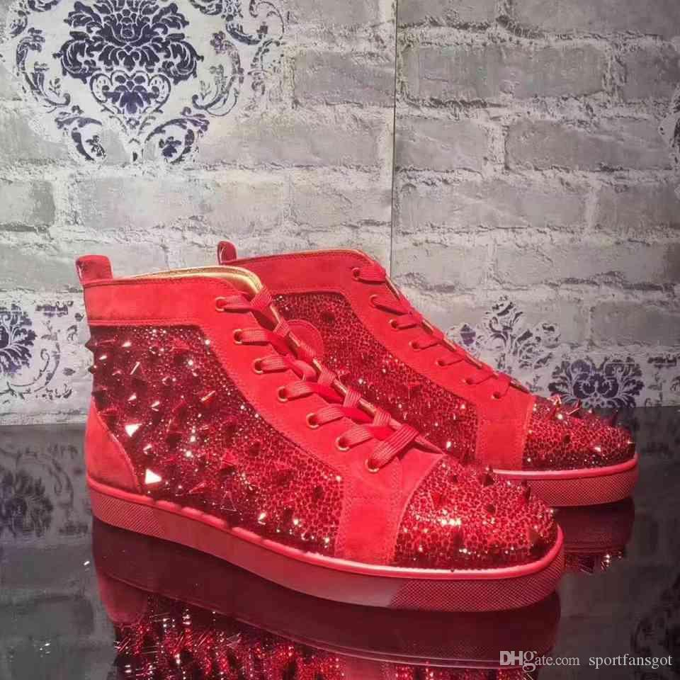 640a82eacecf Red Bottoms Designer Boots Brand Studded Casual Shoes Designer Sneaker Brand  Flats Shoes For Men Women Party Lovers Genuine Leather Sneakers Walking  Boots ...