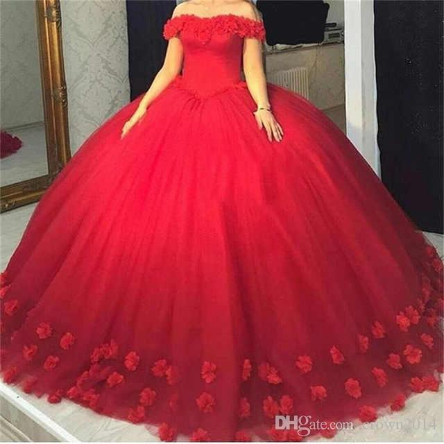 Red Ball Vestido Quinceanera Vestidos Flores 3D Tule Vestidos Doce 16 Dresses Puffy Off the Shoulder doce 15 Ball vestidos longos vestido nupcial