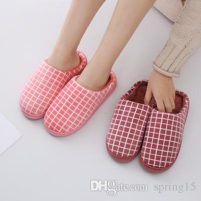 b1552d757cb9 Winter Cotton Slippers Female Grid Non Slip Soft Couple Warm Cotton Shoes  Thick Bottom Couple Indoor Non Slip Slippers Purple Shoes Ladies Footwear  From ...