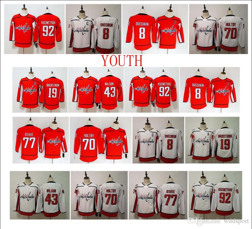 on sale 04816 ad062 Youth NHL Washington Capitals Jersey Alexander Ovechkin Evgeny Kuznetsov 77  TJ Oshie 70 Braden Holtby 43 Tom Wilson Backstrom Kids Hockey