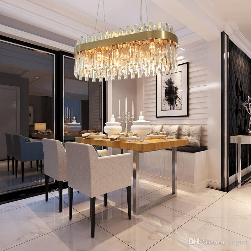 Großhandel Luxus Gold Kronleuchter Beleuchtung Esszimmer Suspension  Kristalllampe Kücheninsel LED Cristal Lüster AC110 240V Licht 1 Auftrag Von  Yogurt, ...