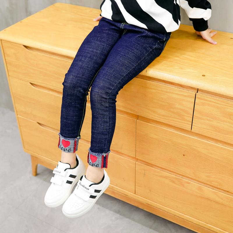 be80480488c2d Girls Jeans Plus Velvet Thick Warm Autumn And Winter Big Children And Girls  Feet Tight Elastic Black Pants Kids Black Jeans Boys Jeans Clearance From  ...