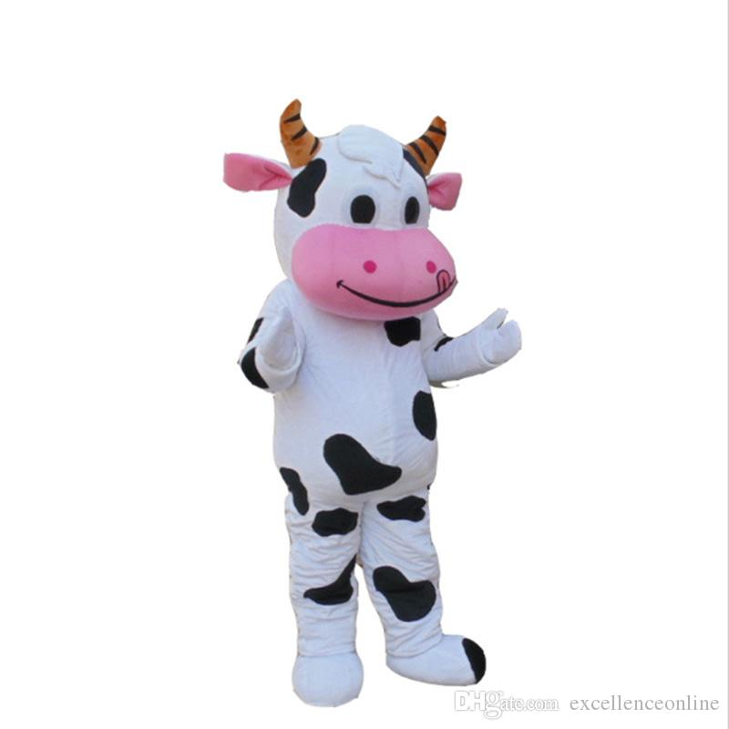 New Hot sale!! PROFESSIONAL FARM DAIRY COW Mascot Costume cartoon Fancy Dress Free Shipping