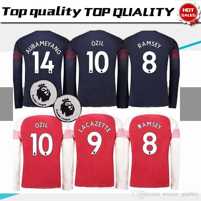 f5c9a57b8 AAA+ Arsenal Home Red Long Sleeve Soccer Jersey AUBAMEYANG MKHIARYAN Away Soccer  Shirt 2018 2019 OZIL TORREIRA Long Third Football Uniforms Arsenal Soccer  ...